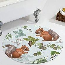 Veryday Squirrel Animals Round Rug Decorative