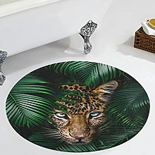 Veryday Tropical Leaves Leopard Round Rug