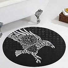 Veryday Viking Runes Raven Round Rug Decorative