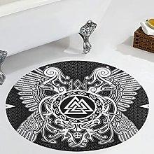 Veryday Viking Runes Raven Round Rug Modern