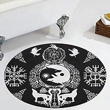 Veryday Viking Wolf Runes Raven Round Rug Vintage