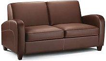 Vesta Chestnut Faux Leather Fold Out Double Sofa