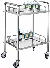 VEVOR 2-Layer Lab Medical Cart Stainless Steel 4