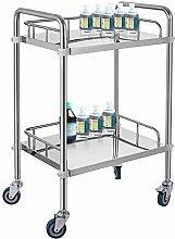 VEVOR 2-Layer Lab Medical Cart Stainless Steel