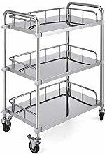 VEVOR 3-Layer Lab Medical Cart Stainless Steel