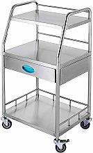 VEVOR 3-Layer Lab Medical Cart with 1 Upper Drawer