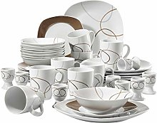 VEWEET 'Nikita' 40-Piece Ivory White Brown