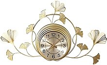 VHFGU Chinese-style Leaf Metal Wall Clock Living