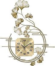 VHFGU Chinese-style Leaf Wall Clock Living Room