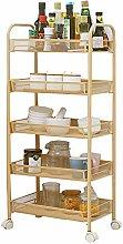 VHGYU Storage Trolleys Gold Beauty Nail Salon Cart