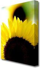 Vibrant Yellow Sunflower Flowers Canvas Print Wall