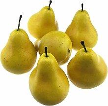 VICASKY 6pcs Fake Pear Artificial Fruit Faux Pears