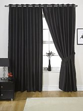 Viceroybedding Black Faux Silk eyelet lined
