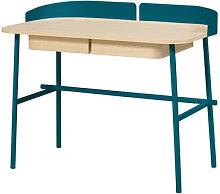 Victor Desk by Hartô Natural wood,Petrol blue