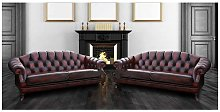 Victoria 3+3 chesterfield Leather sofa suite | UK