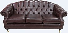 Victoria 3 Seater Chesterfield Leather Sofa Settee