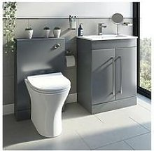 Victoria Plum Grey Vanity Unit 600Mm With Back To