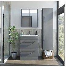 Victoria Plum Grey Vanity Unit 600Mm With Mirror