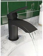 Victoria Plum Matt Black Curved Basin Mixer Tap