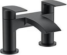 Victoria Plum Matt Black Curved Bath Mixer Tap