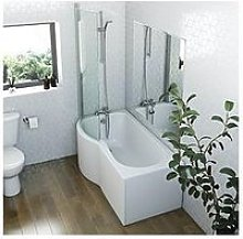 Victoria Plum P Shaped Shower Bath With Screen,