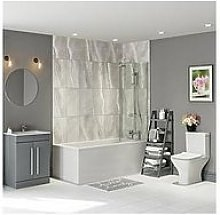 Victoria Plum Straight Shower Bath Suite With Grey