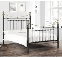 Victoria Satin Black Metal Bed Frame - 4ft6 Double
