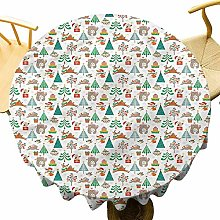 VICWOWONE Christmas Tablecloth - 55 Inch Round