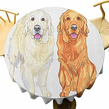 VICWOWONE Golden Retriever Tablecloth - 35 Inch