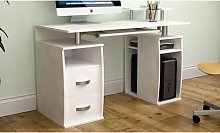 Vida Designs Otley Computer Desk: Three-Drawer/Pine