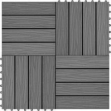 vidaXL 11 pcs Decking Tiles Deep Embossed WPC