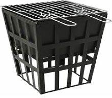 vidaXL 2-in-1 Fire Pit and BBQ 34x34x48 cm Steel -