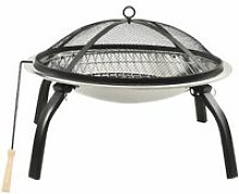 vidaXL 2-in-1 Fire Pit and BBQ with Poker 56x56x49