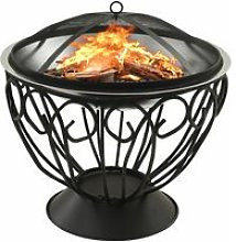 vidaXL 2-in-1 Fire Pit and BBQ with Poker 59x59x60