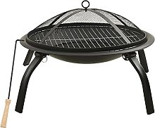 vidaXL 2-in-1 Fire Pit and BBQ with Poker Steel
