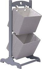 vidaXL 2-Layer Basket Rack Dark Grey 35x35x72 cm