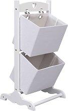 vidaXL 2-Layer Basket Rack Wood White 35x35x72 cm