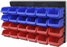 Vidaxl - 2 pcs Blue & Red Wall Mounted Garage Tool