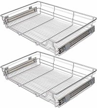 vidaXL 2 pcs Pull-Out Wire Baskets Kitchen Base