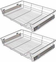 vidaXL 2 pcs Pull-Out Wire Baskets Kitchen Base