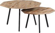 vidaXL 2 Piece Coffee Table Set Hexagon Reclaimed