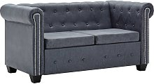 vidaXL 2-Seater Chesterfield Sofa Artificial Suede