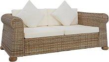 vidaXL 2-Seater Sofa with Cushions Natural Rattan