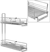 vidaXL 2-Tier Pull-out Kitchen Wire Basket Silver