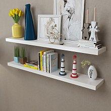vidaXL 2 White MDF Floating Wall Display Shelves