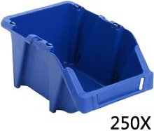 vidaXL 250 pcs Stackable Storage Bins 103x165x76