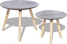 vidaXL 2x Coffee Tables Concrete Grey Home