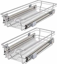 vidaXL 2x Pull-Out Wire Baskets Silver 300mm