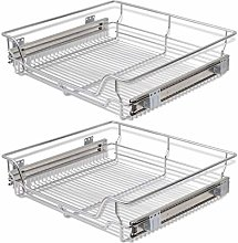 vidaXL 2x Pull-Out Wire Baskets Silver 600mm