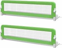 vidaXL 2x Toddler Safety Bed Rail Green 150x42cm